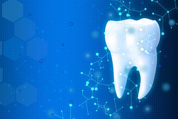 Tooth image on blue background with medical symbols